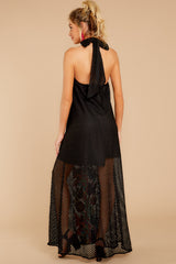 7 Flock To It Black Embroidered Maxi Dress at reddressboutique.com