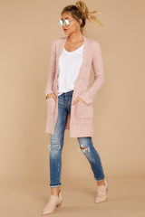 Obsession Confession Light Pink Chenille Cardigan