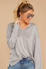 4 Talk To Ya Later Heather Grey Top at reddressboutique.com