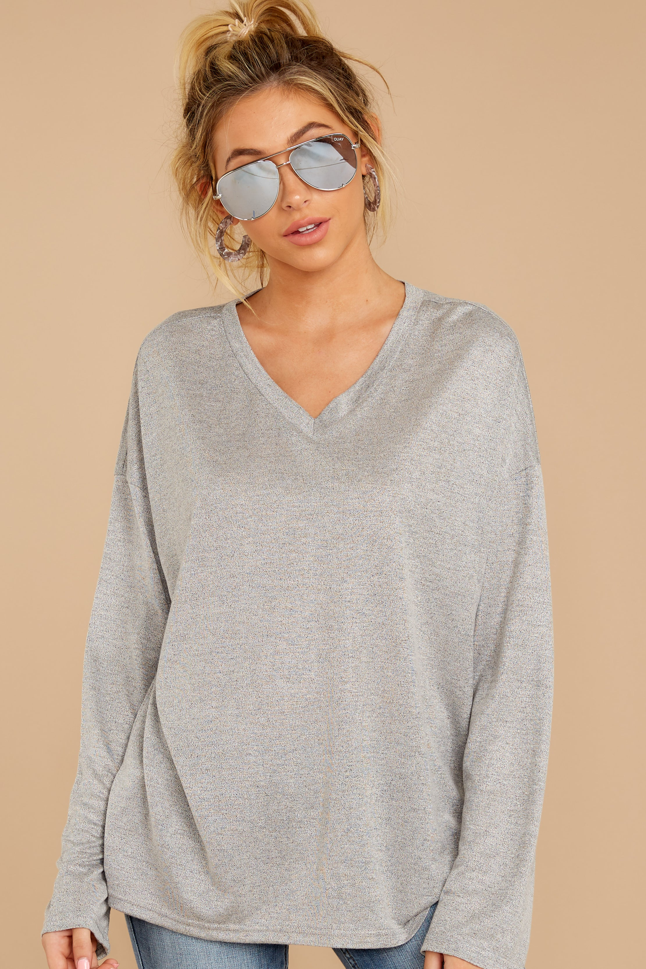 5 Talk To Ya Later Heather Grey Top at reddressboutique.com