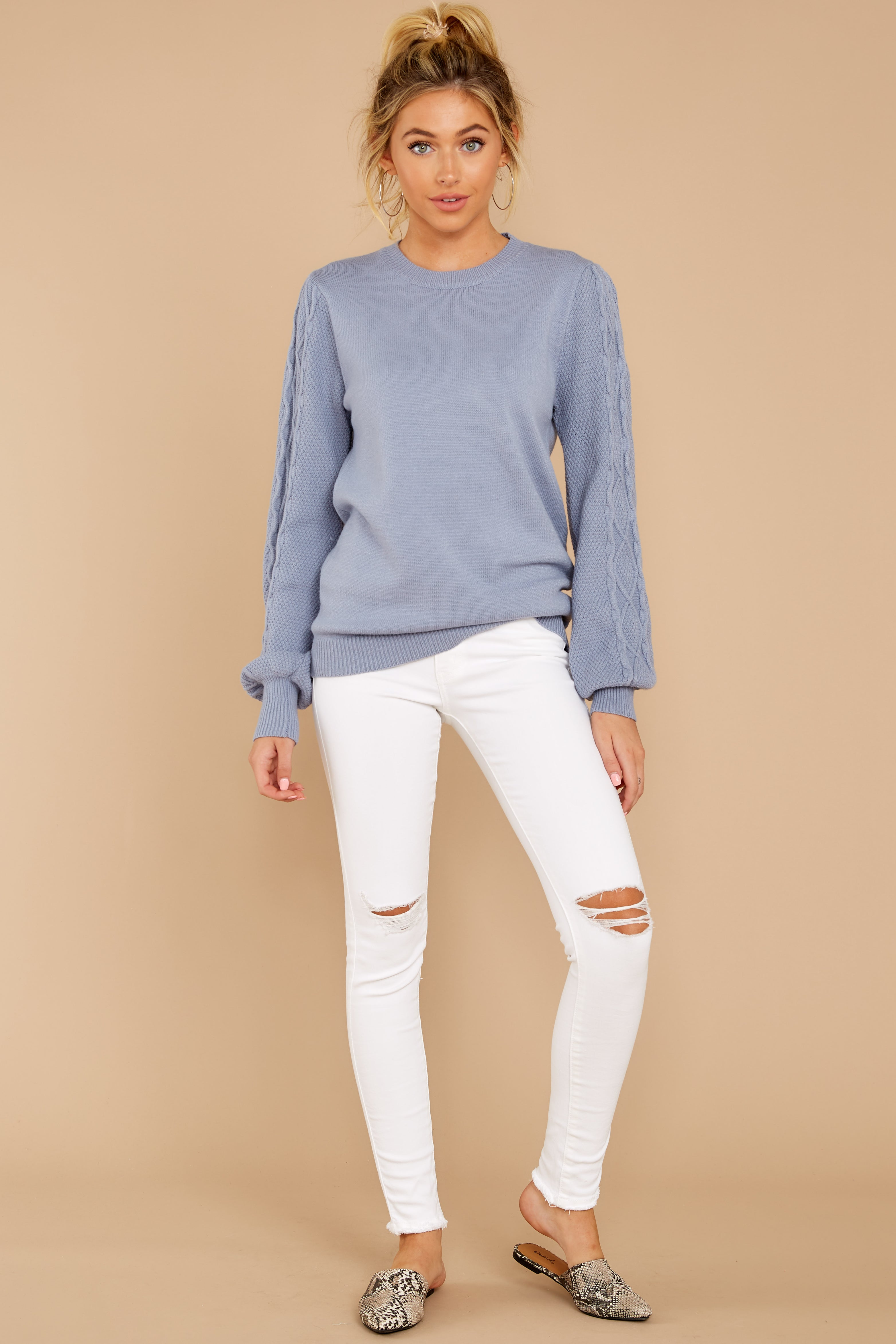 3 Wandering Through Winter Dusty Blue Sweater at reddressboutique.com