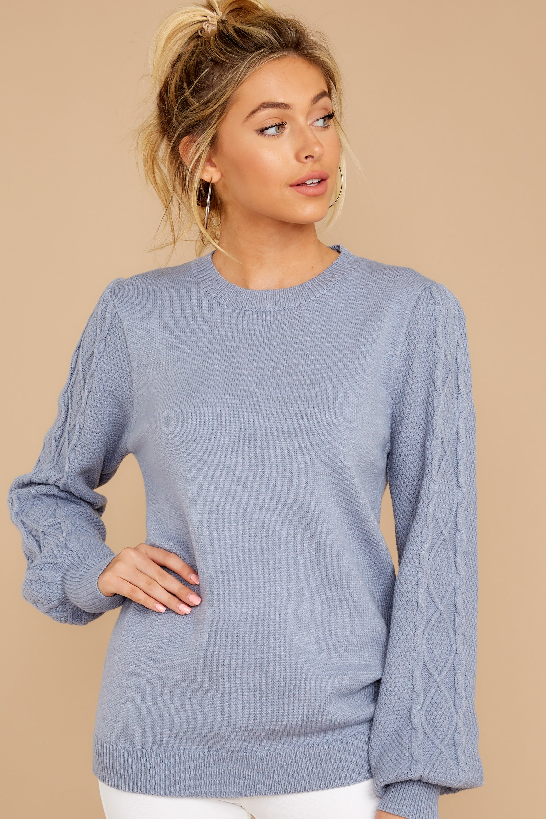 4 Wandering Through Winter Dusty Blue Sweater at reddressboutique.com