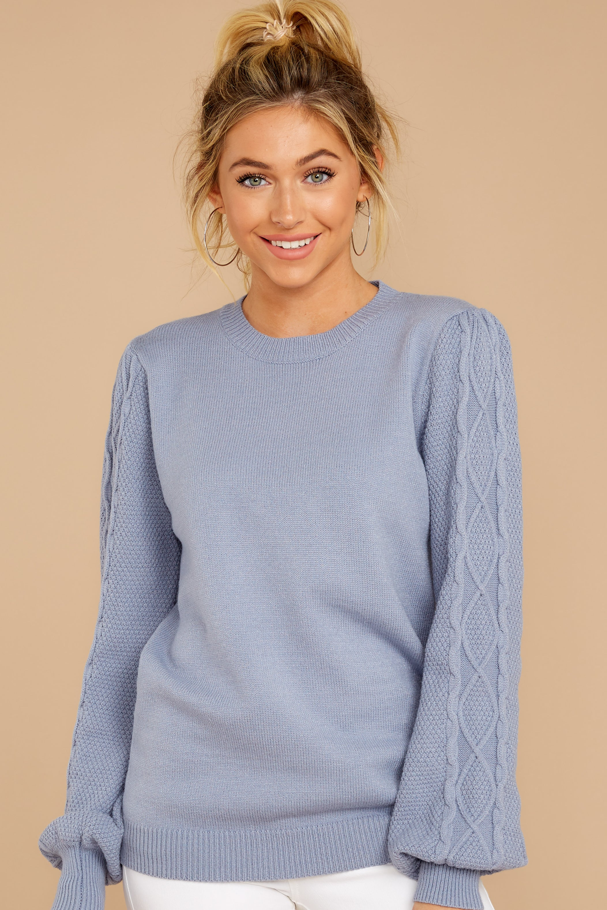 5 Wandering Through Winter Dusty Blue Sweater at reddressboutique.com