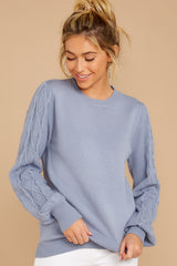 6 Wandering Through Winter Dusty Blue Sweater at reddressboutique.com
