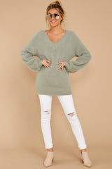 3 Feel It Still Sage Sweater at reddressboutique.com