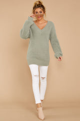 2 Feel It Still Sage Sweater at reddressboutique.com