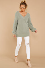 1 Feel It Still Sage Sweater at reddressboutique.com