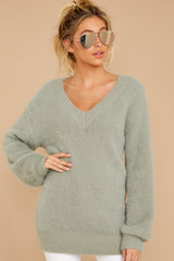 4 Feel It Still Sage Sweater at reddressboutique.com