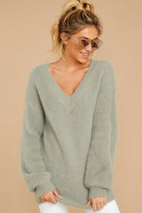 5 Feel It Still Sage Sweater at reddressboutique.com