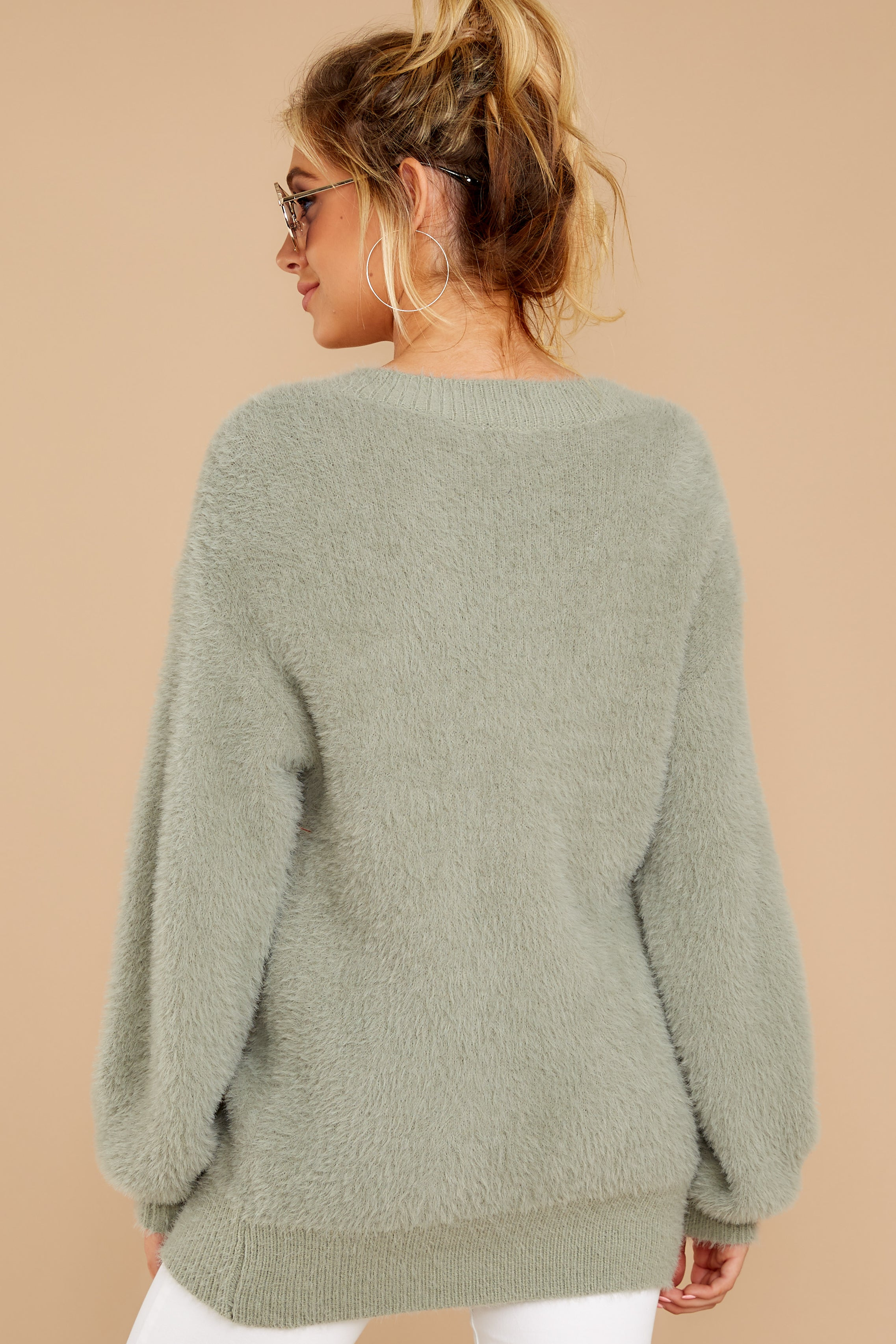 7 Feel It Still Sage Sweater at reddressboutique.com