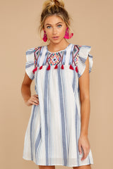 4 Everything Tonight Blue Multi Stripe Embroidered Dress at reddressboutique.com