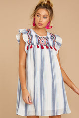 5 Everything Tonight Blue Multi Stripe Embroidered Dress at reddressboutique.com