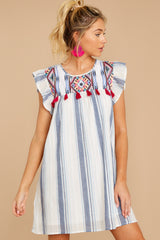 6 Everything Tonight Blue Multi Stripe Embroidered Dress at reddressboutique.com