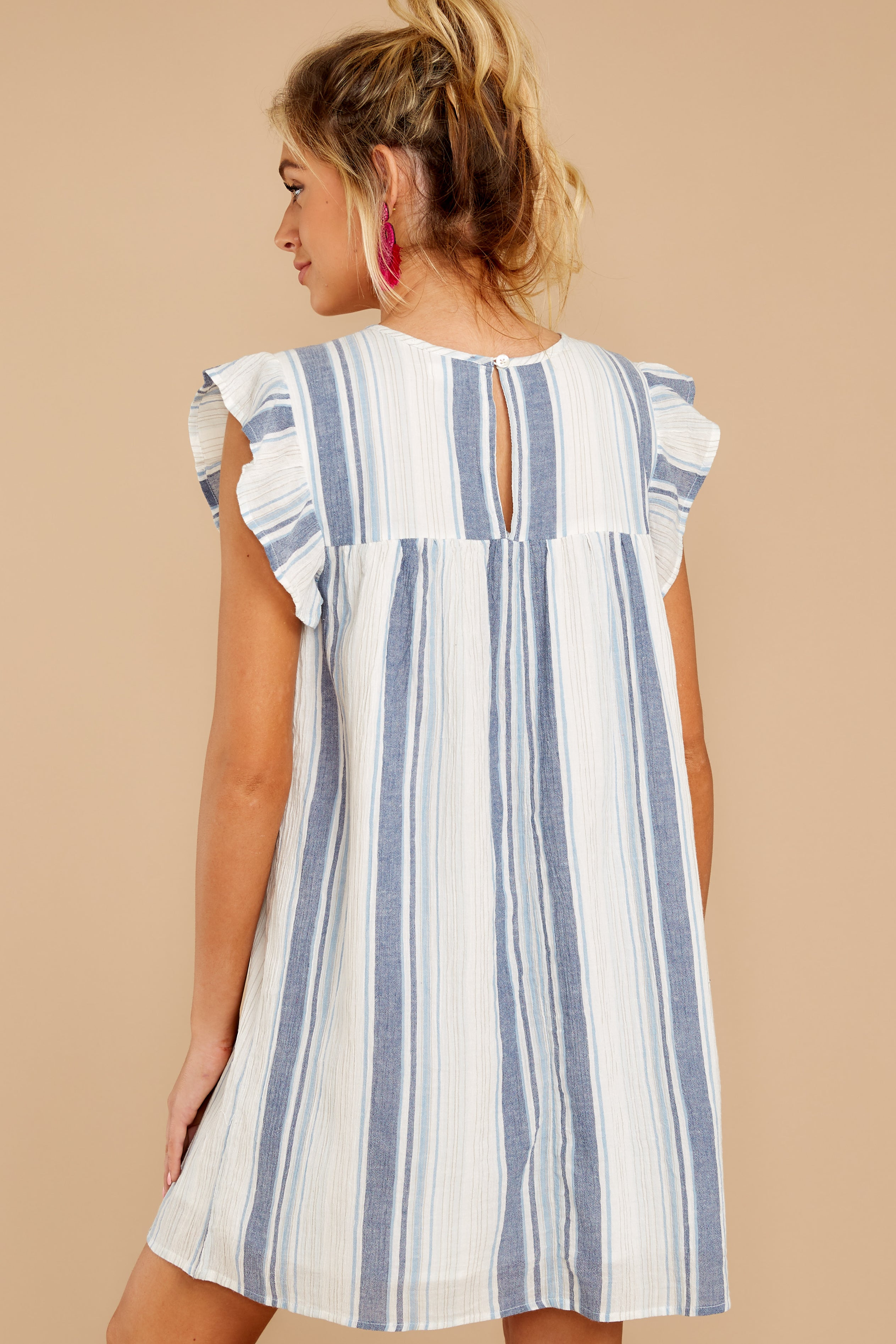 7 Everything Tonight Blue Multi Stripe Embroidered Dress at reddressboutique.com