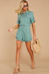 No Pouting Dusted Jade Romper