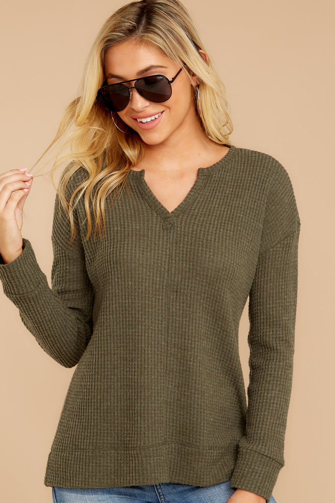 1 Chill By Choice Olive Green Waffle Knit Top at reddressboutique.com