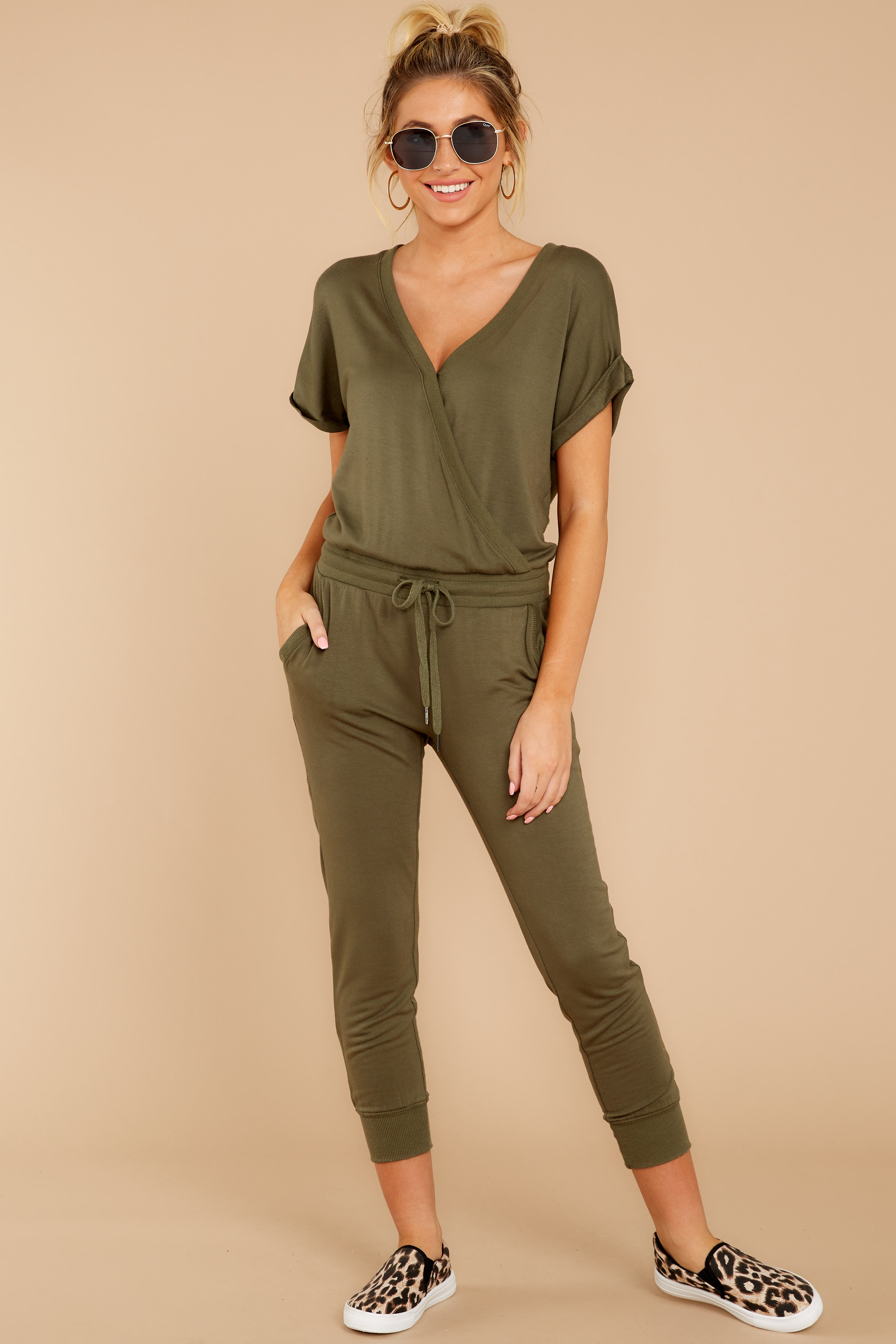 4 The Leaf Clover Wrap Front Jumpsuit at reddressboutique.com