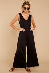 5 Lessons In Luxe Black Jumpsuit at reddressboutique.com
