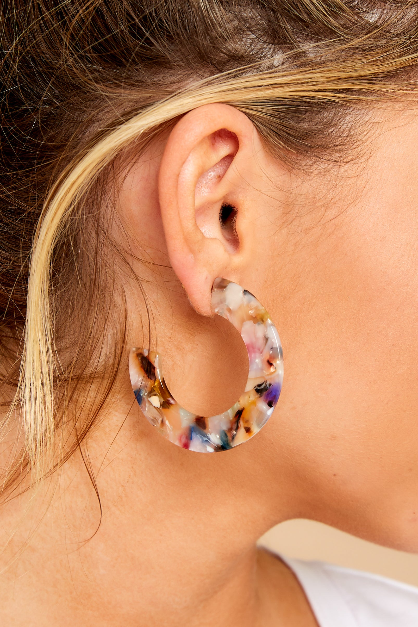 1 Perfect For Now White Multi Tortoise Acrylic Earrings at reddressboutique.com