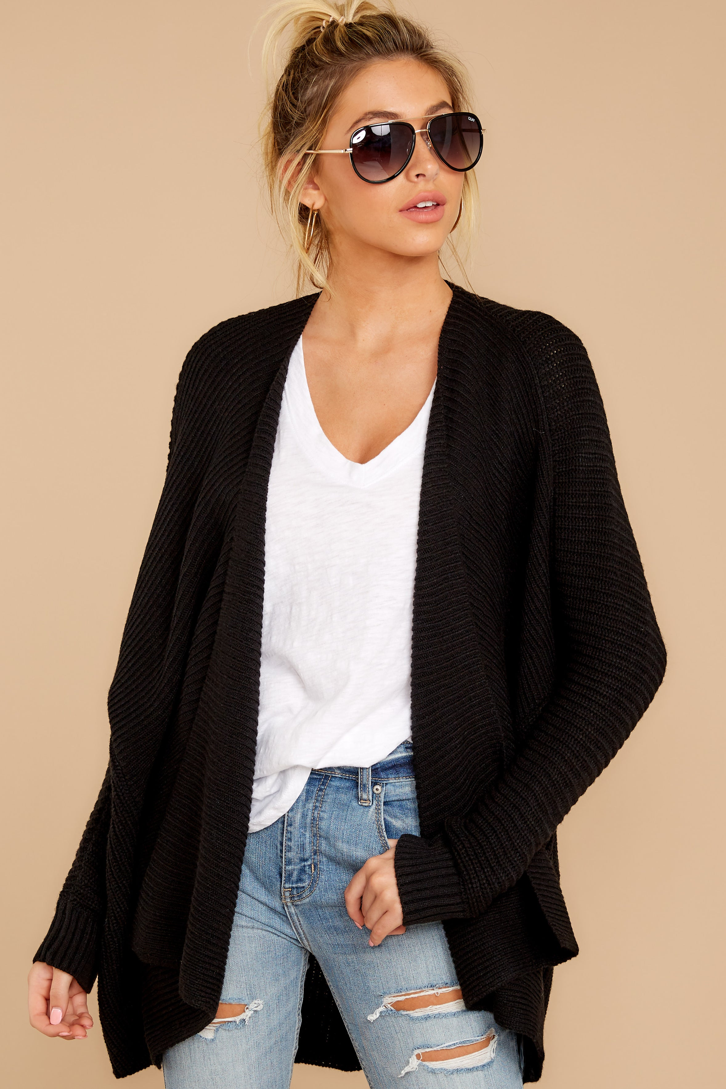 4 Towards The Cabin Black Cardigan at reddressboutique.com
