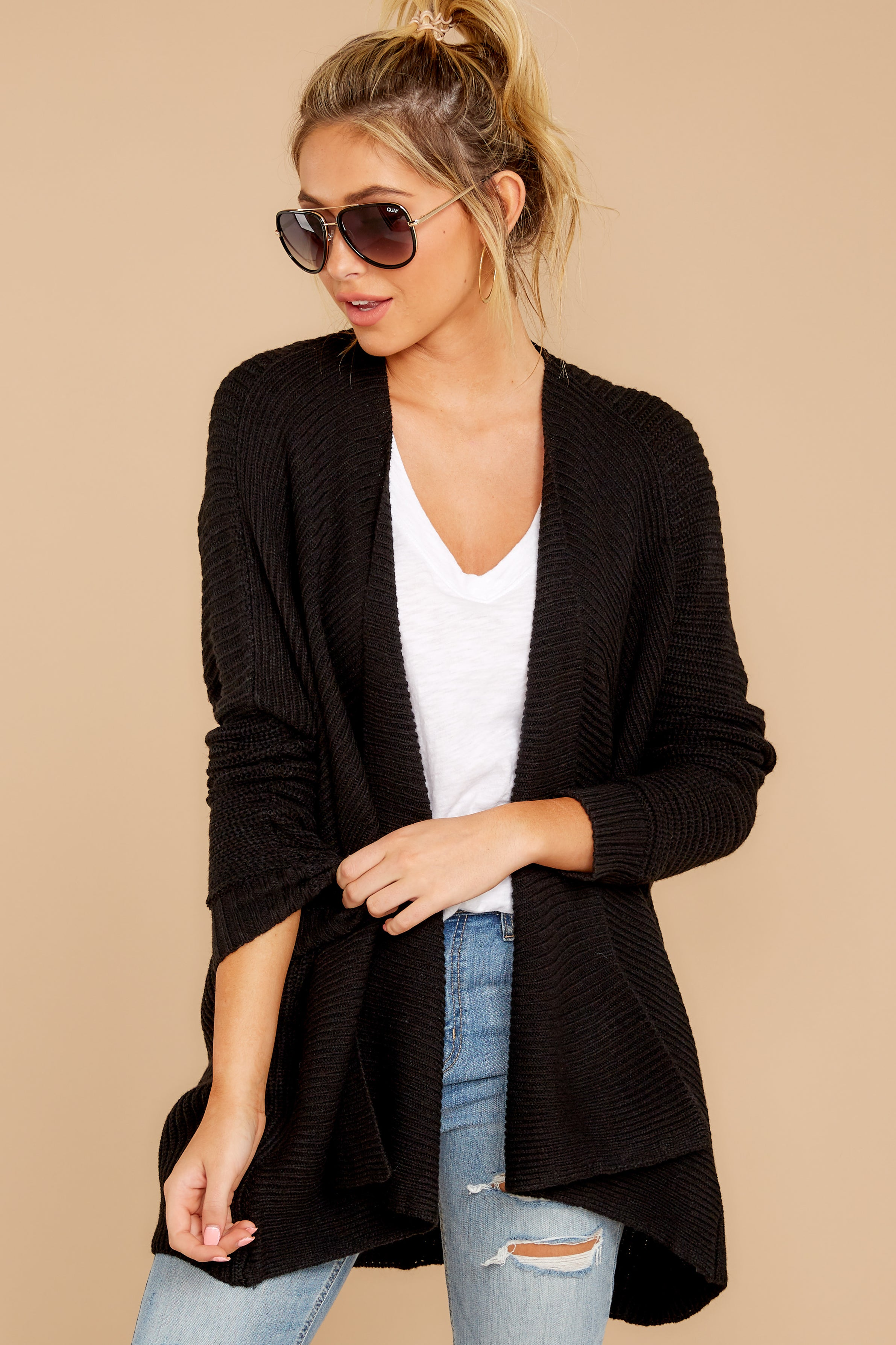 6 Towards The Cabin Black Cardigan at reddressboutique.com