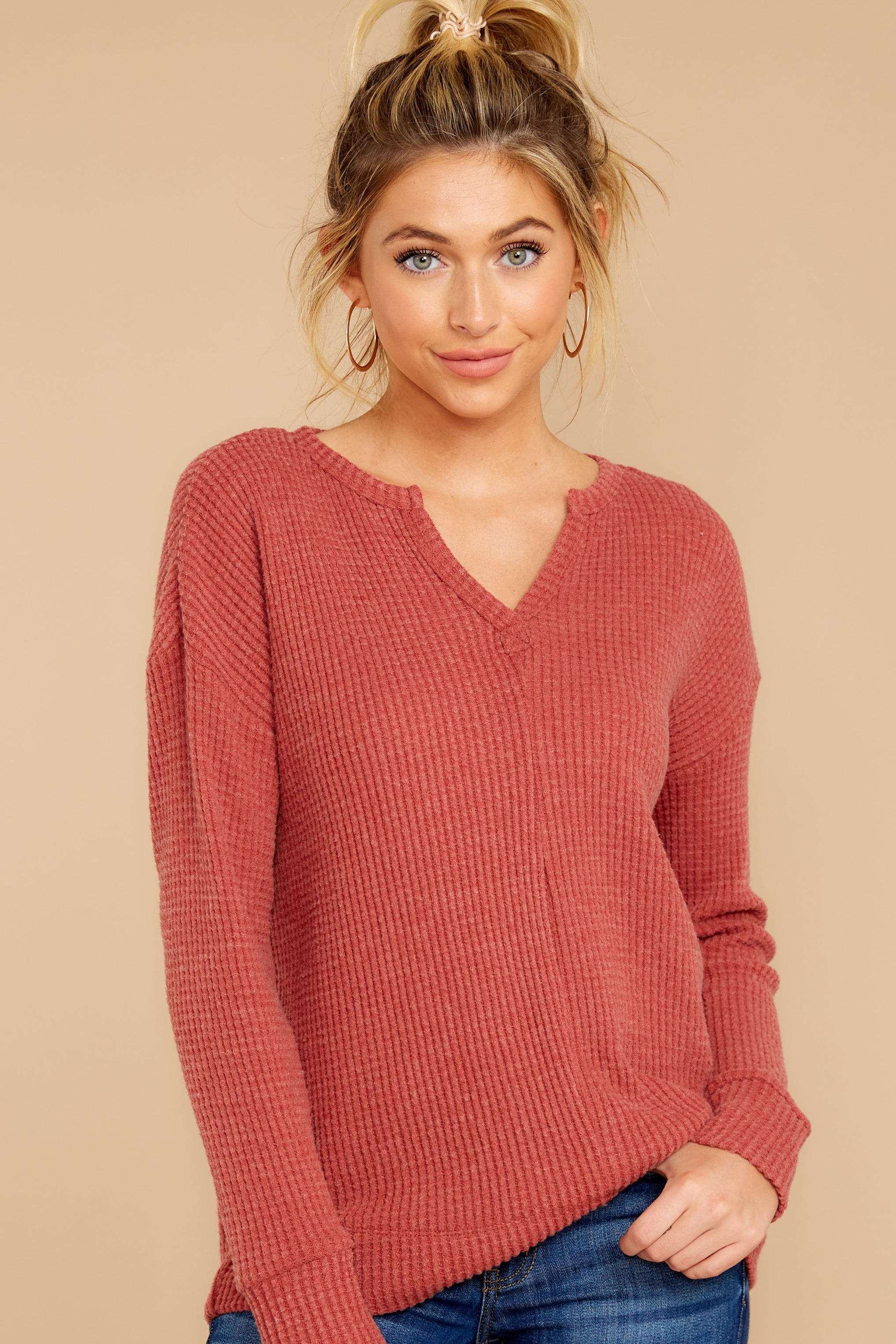 4 The Mesa Red Waffle Split Neck Thermal at reddress.com