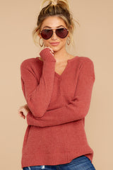 5 The Mesa Red Waffle Split Neck Thermal at reddress.com
