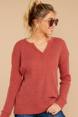 6 The Mesa Red Waffle Split Neck Thermal at reddress.com