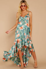 3 Flamenco Dancing Green Tropical Print Maxi Dress at reddressboutique.com