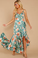 V-neck Wrap Self Tie Darts Floral Tropical Print Princess Seams Waistline High-Low-Hem Summer Maxi Dress