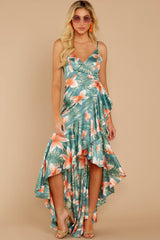 2 Flamenco Dancing Green Tropical Print Maxi Dress at reddressboutique.com