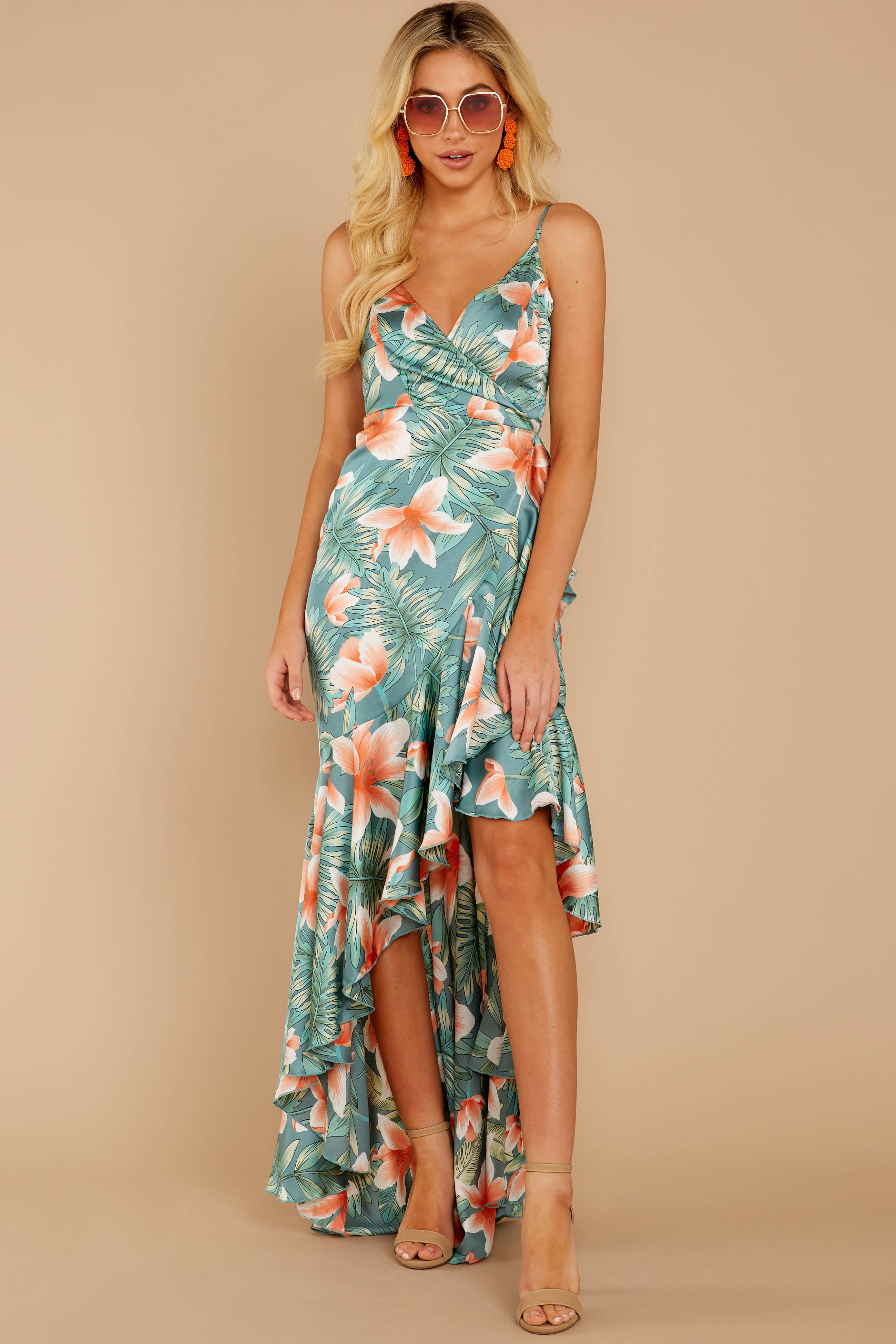 4 Flamenco Dancing Green Tropical Print Maxi Dress at reddressboutique.com