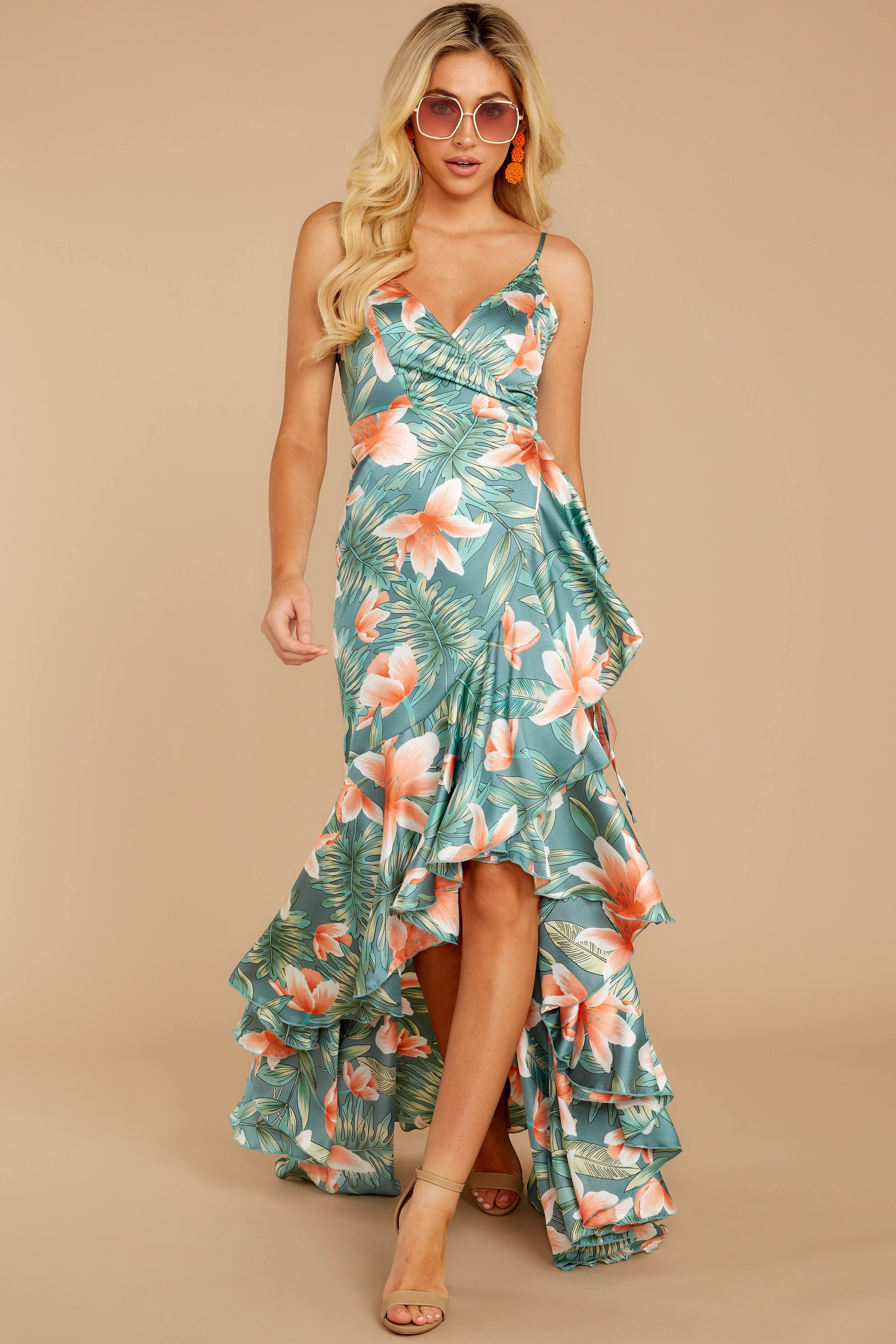 5 Flamenco Dancing Green Tropical Print Maxi Dress at reddressboutique.com