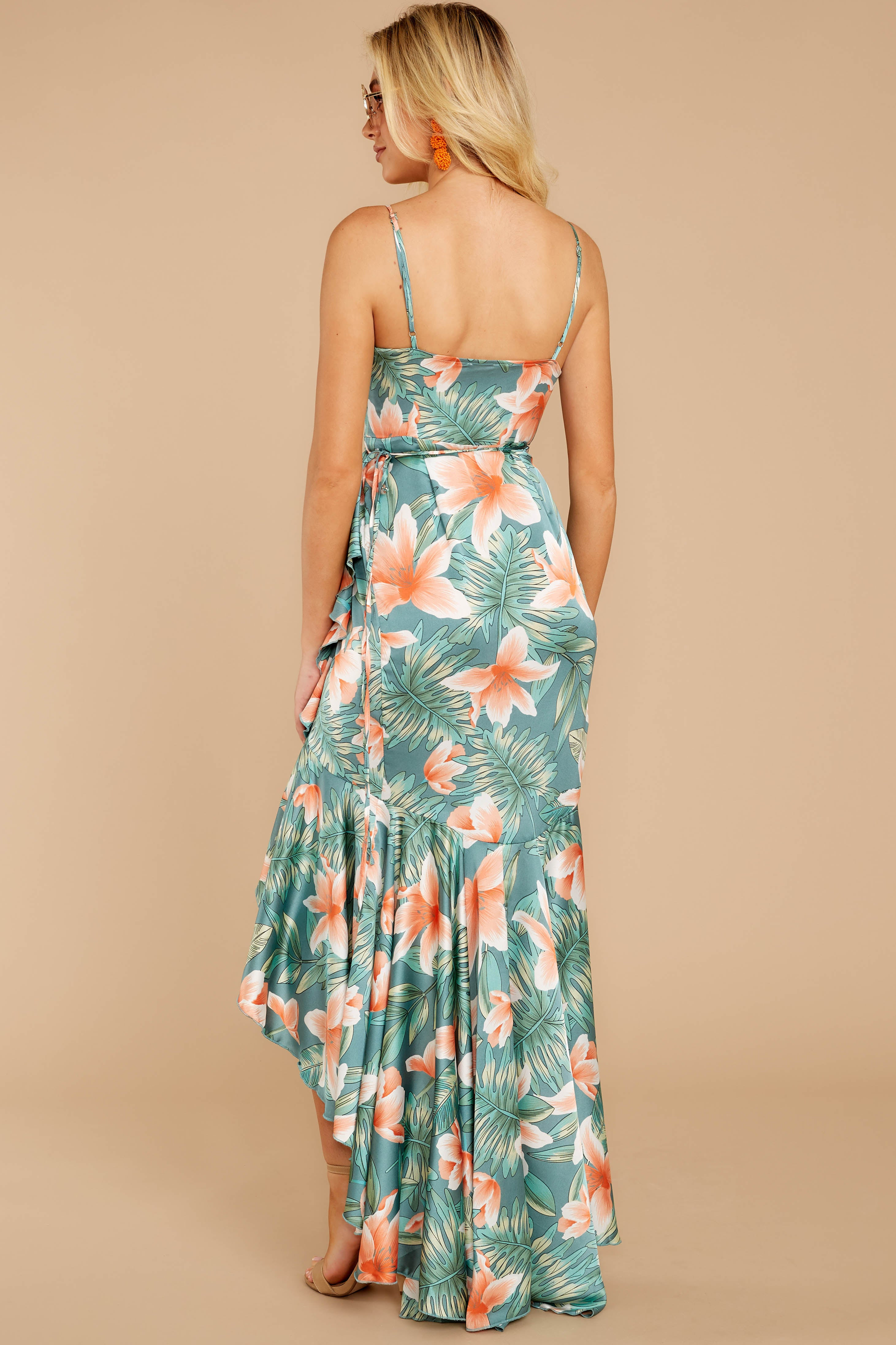 6 Flamenco Dancing Green Tropical Print Maxi Dress at reddressboutique.com