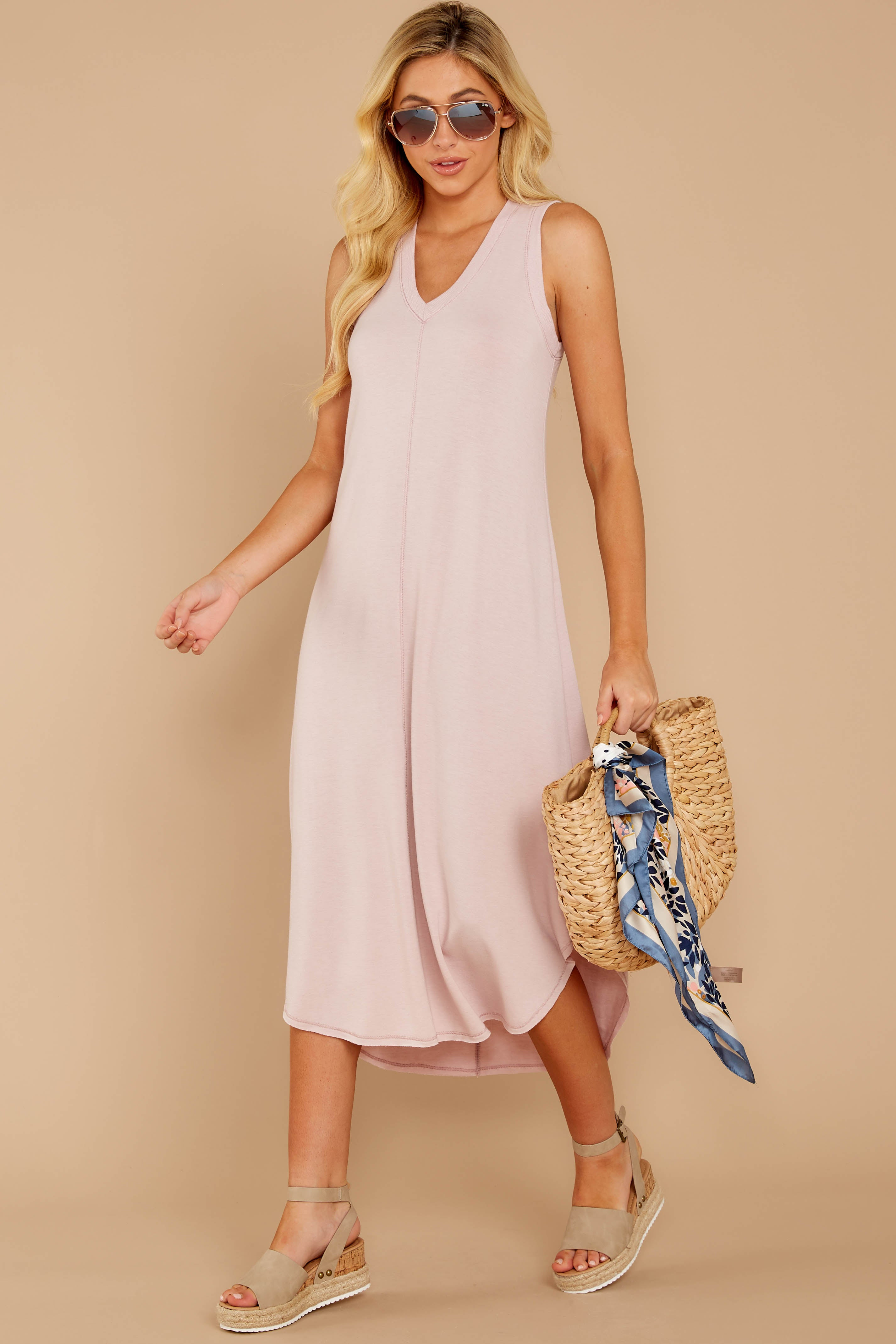 1 Unleashed Comfort Powder Pink Midi Dress at reddressboutique.com