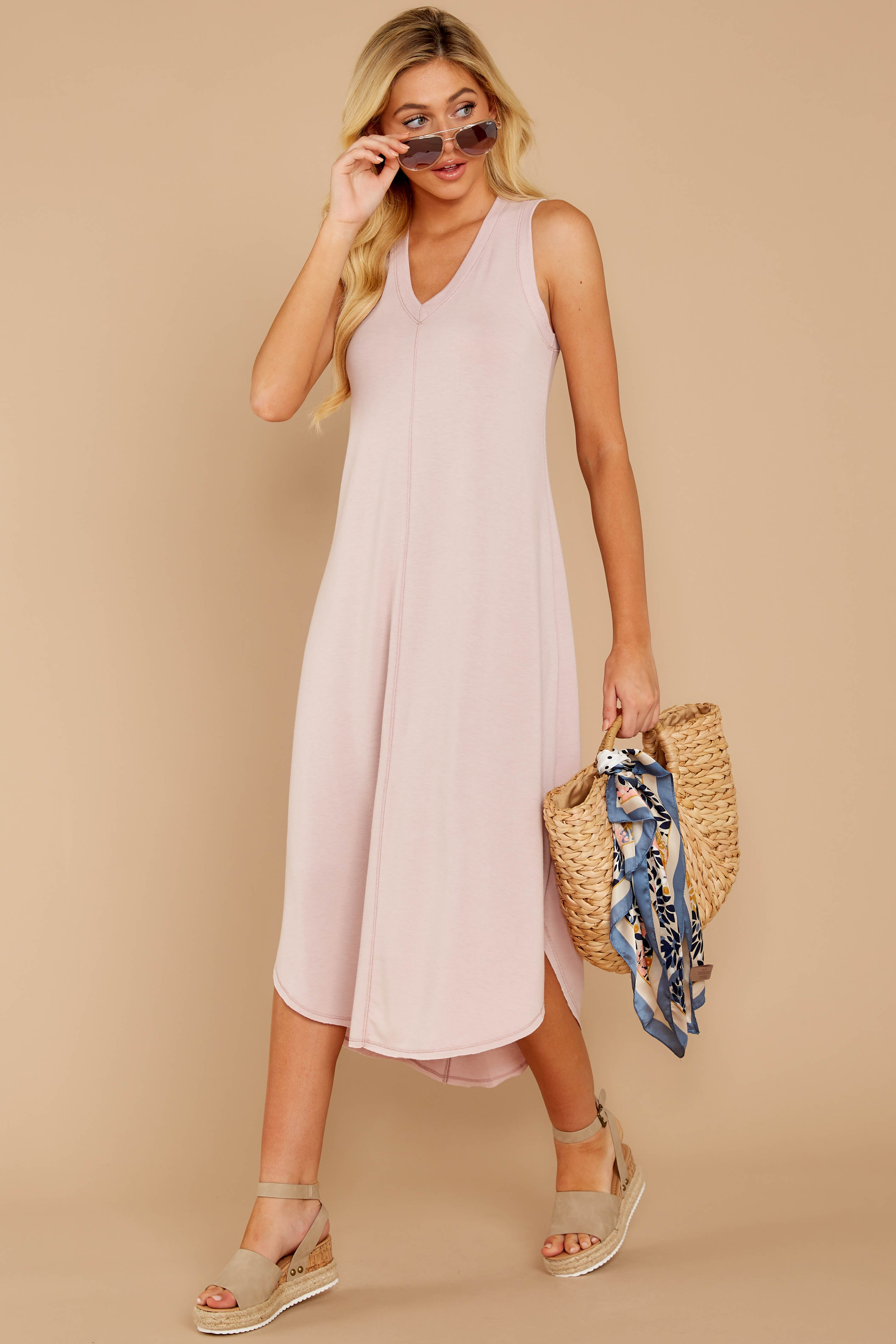 3 Unleashed Comfort Powder Pink Midi Dress at reddressboutique.com