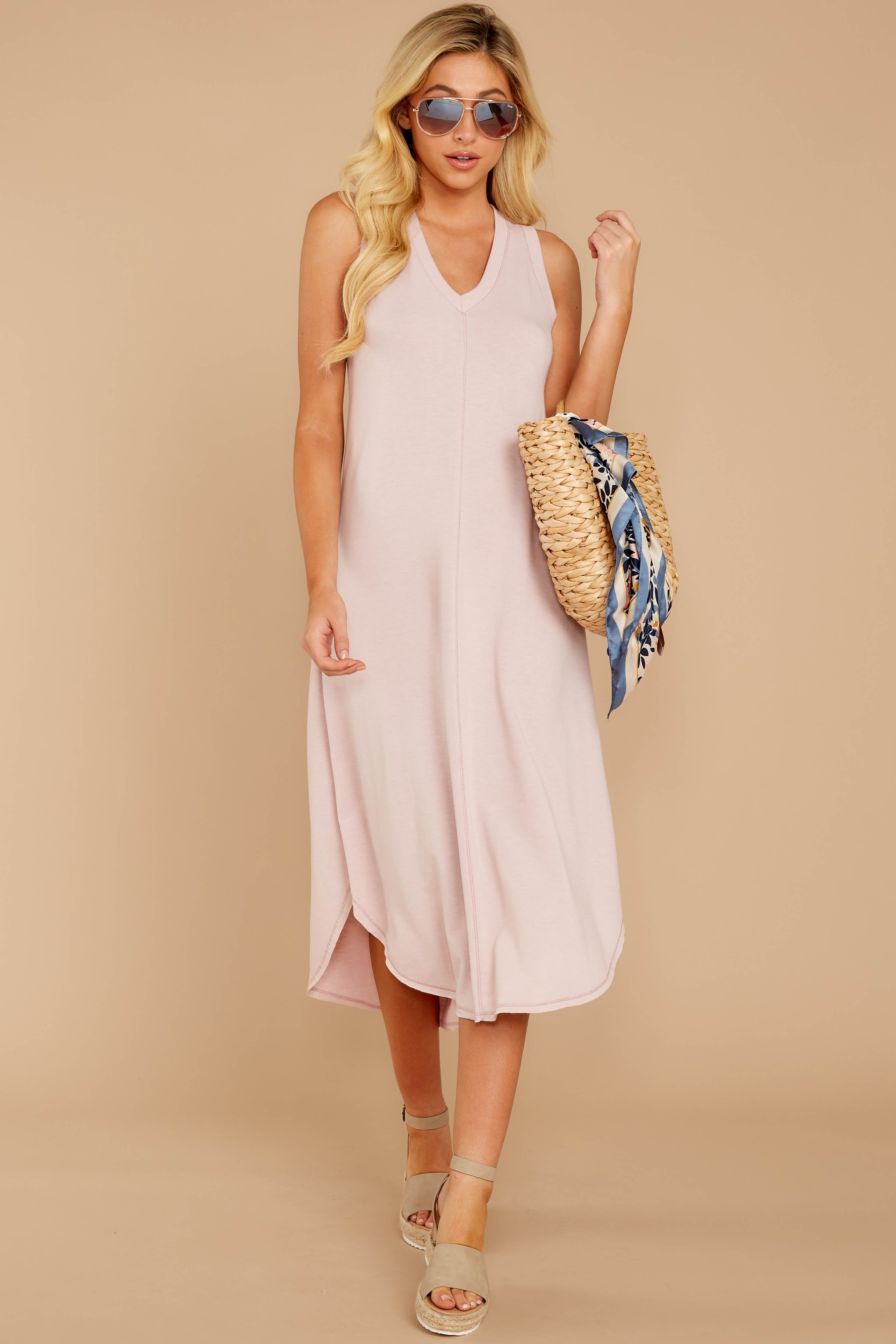 2 Unleashed Comfort Powder Pink Midi Dress at reddressboutique.com