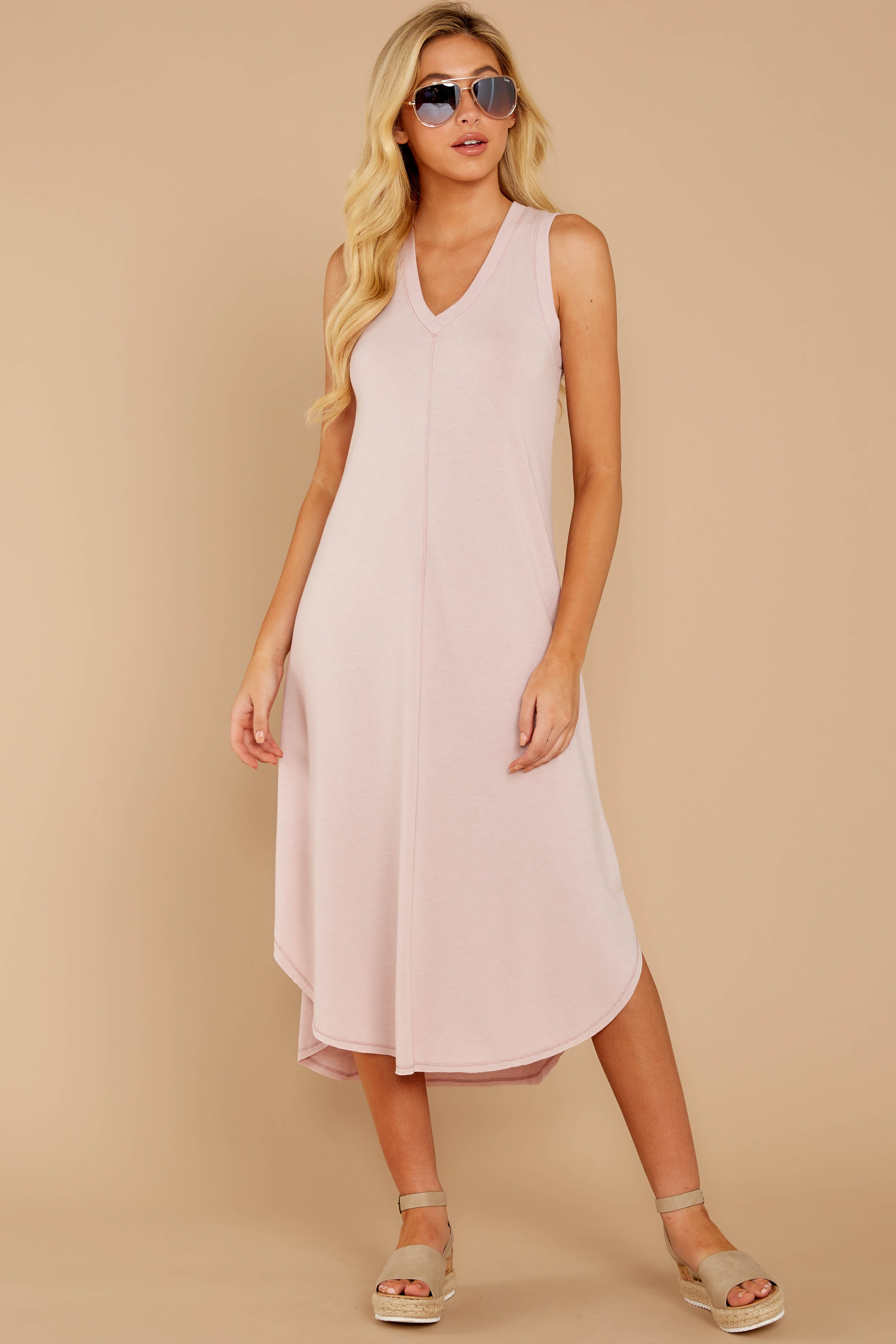 4 Unleashed Comfort Powder Pink Midi Dress at reddressboutique.com