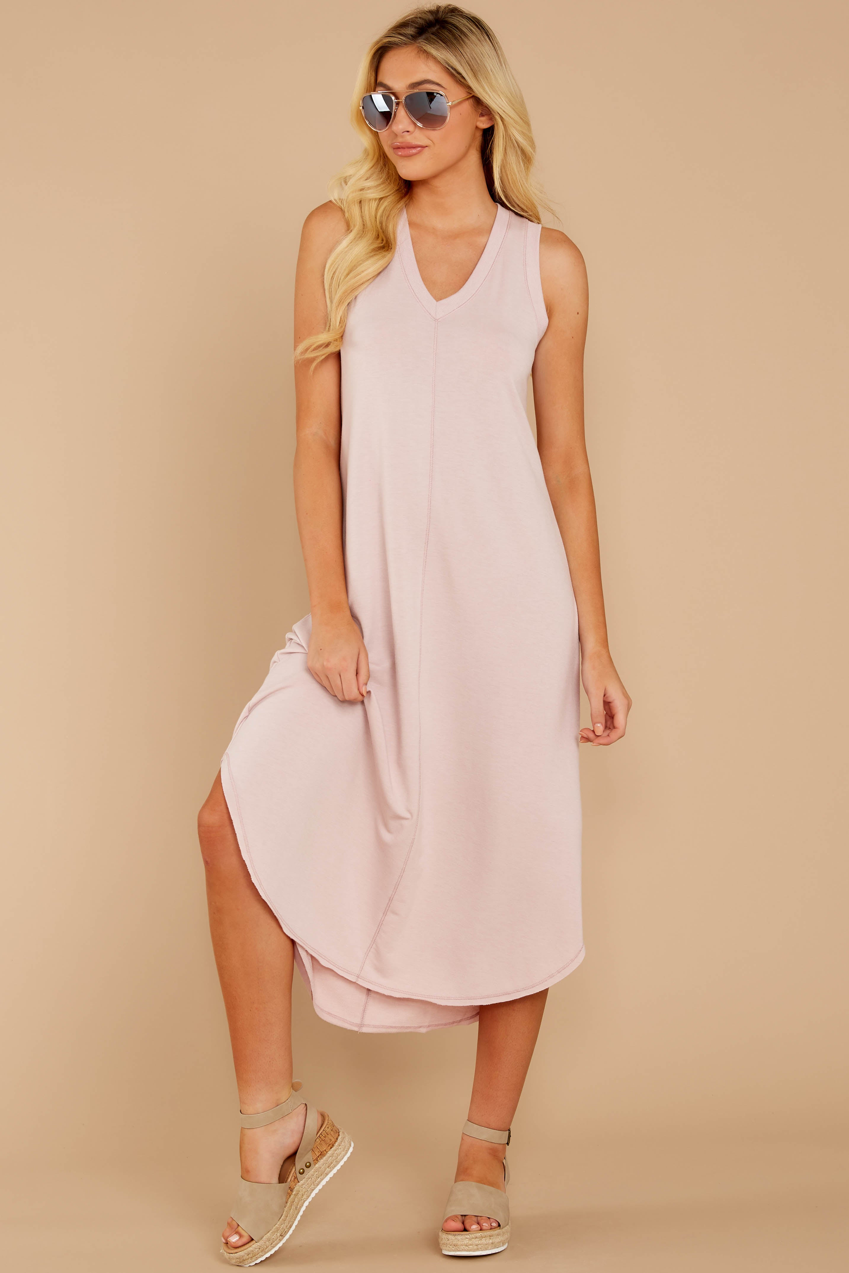 5 Unleashed Comfort Powder Pink Midi Dress at reddressboutique.com
