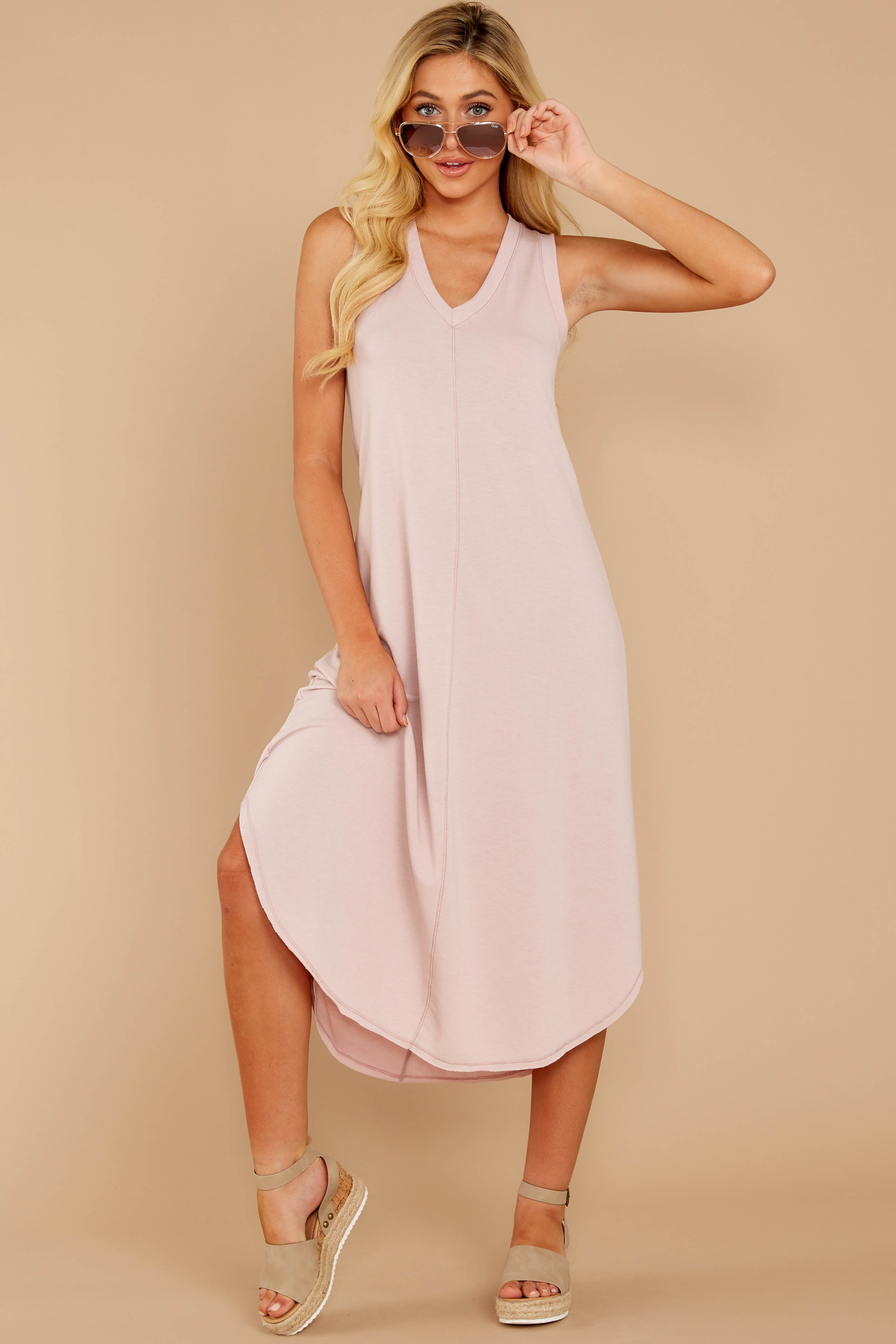6 Unleashed Comfort Powder Pink Midi Dress at reddressboutique.com