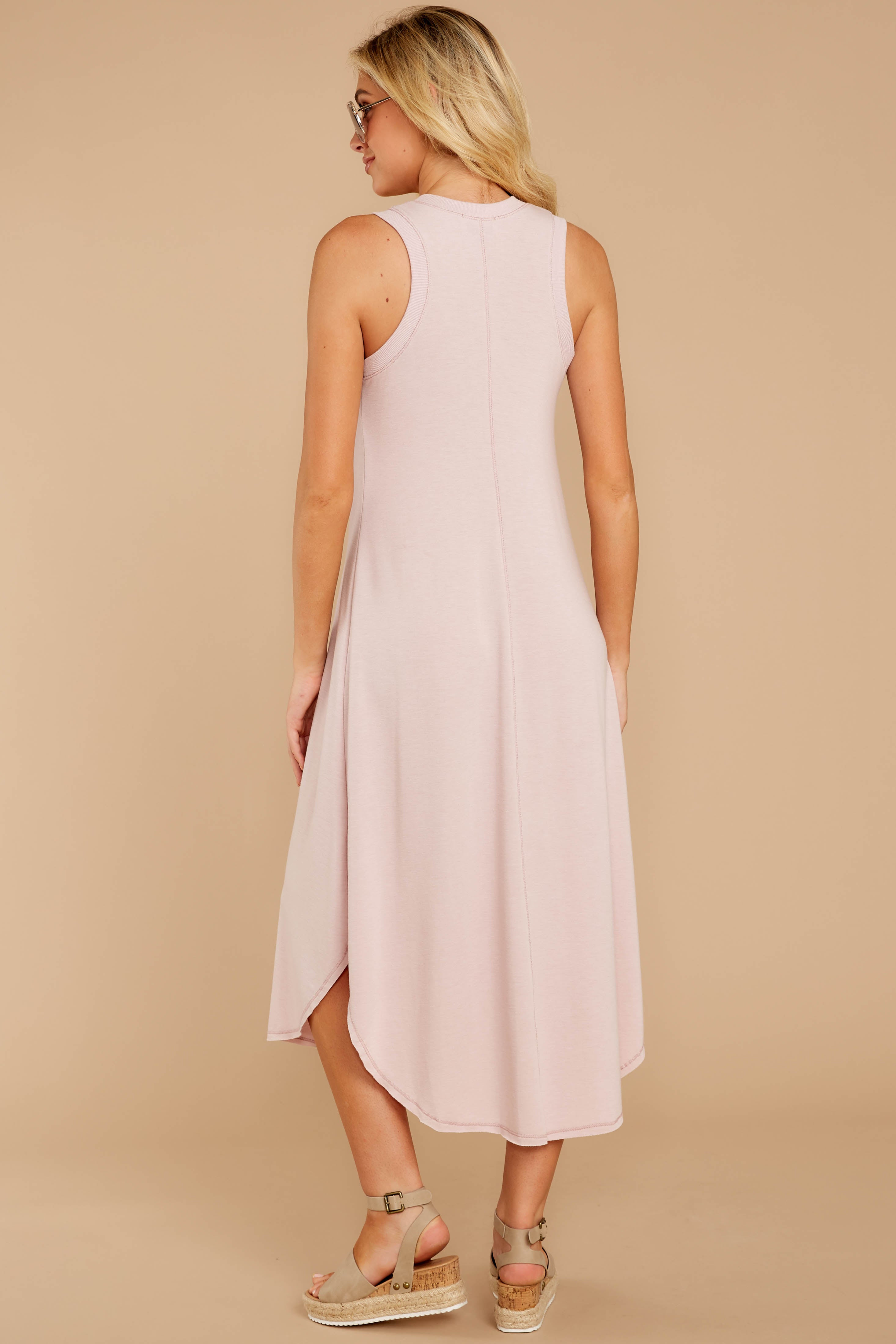 7 Unleashed Comfort Powder Pink Midi Dress at reddressboutique.com