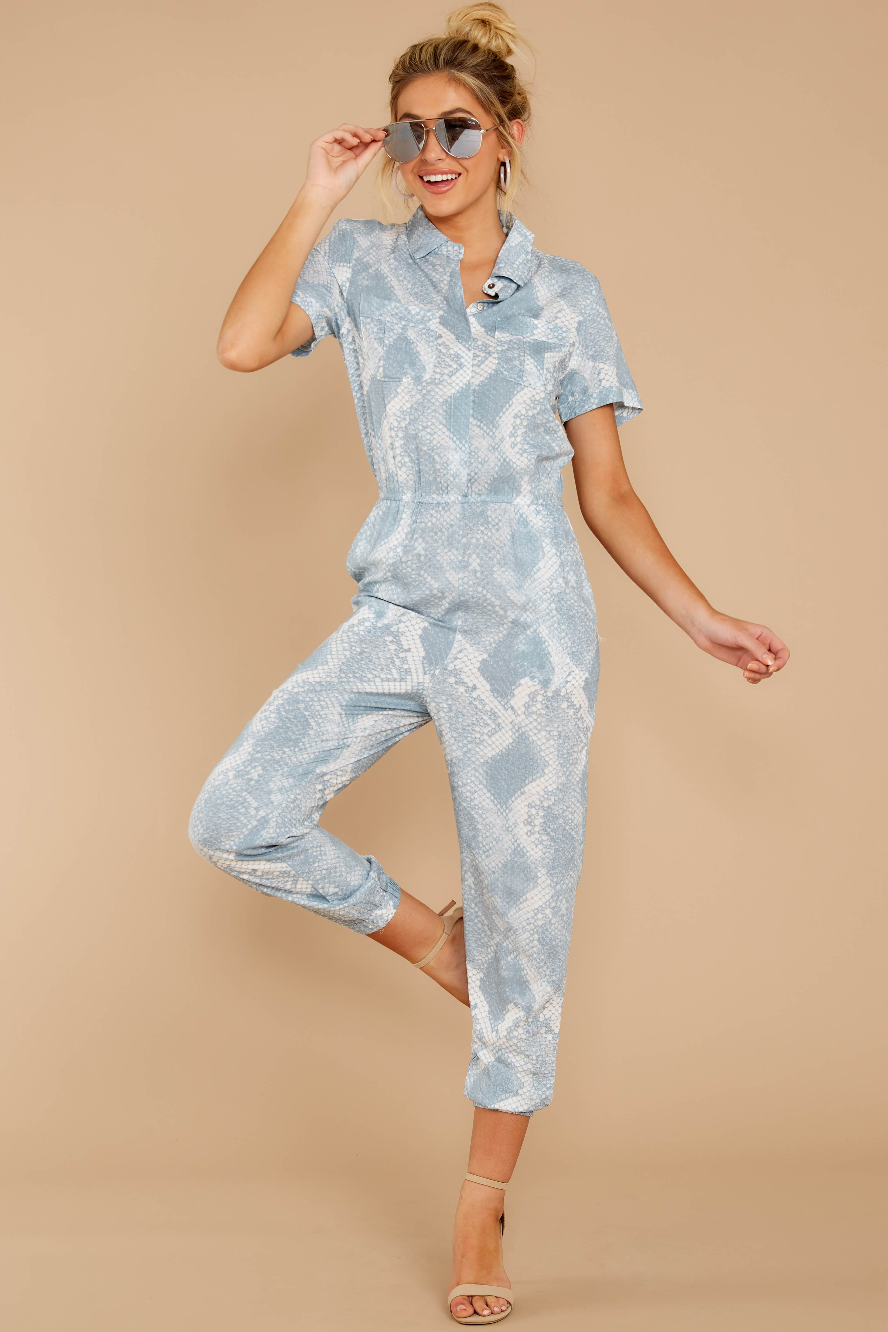 2 Never Disappointed Light Blue Snake Print Jumpsuit at reddressboutique.com