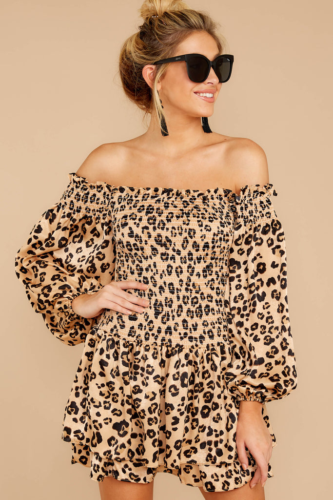 1 Worth The Chase Tan Cheetah Print Dress at reddressboutique.com