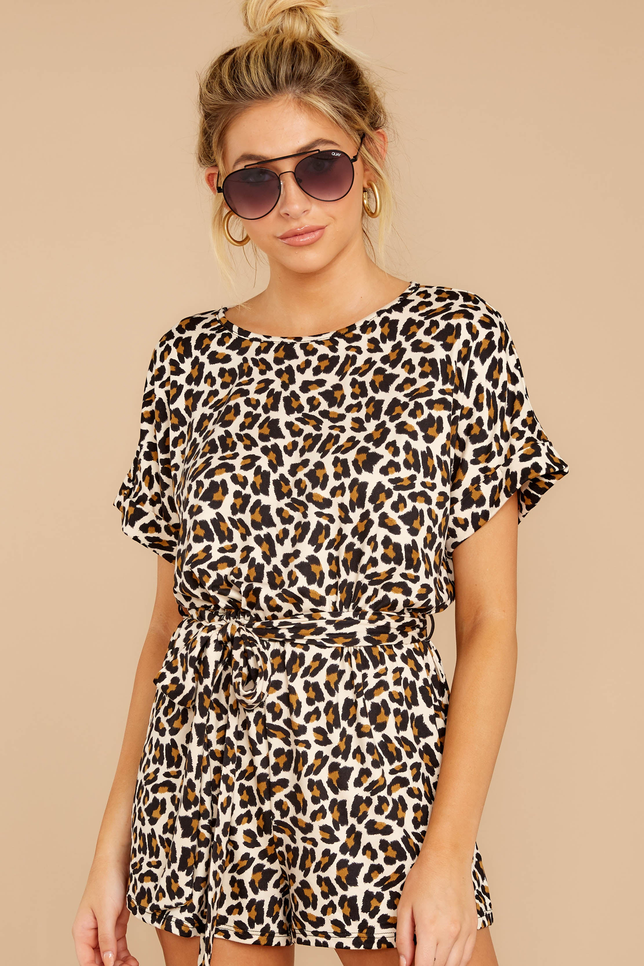 5 Chasing Chic Light Leopard Print Romper at reddressboutique.com