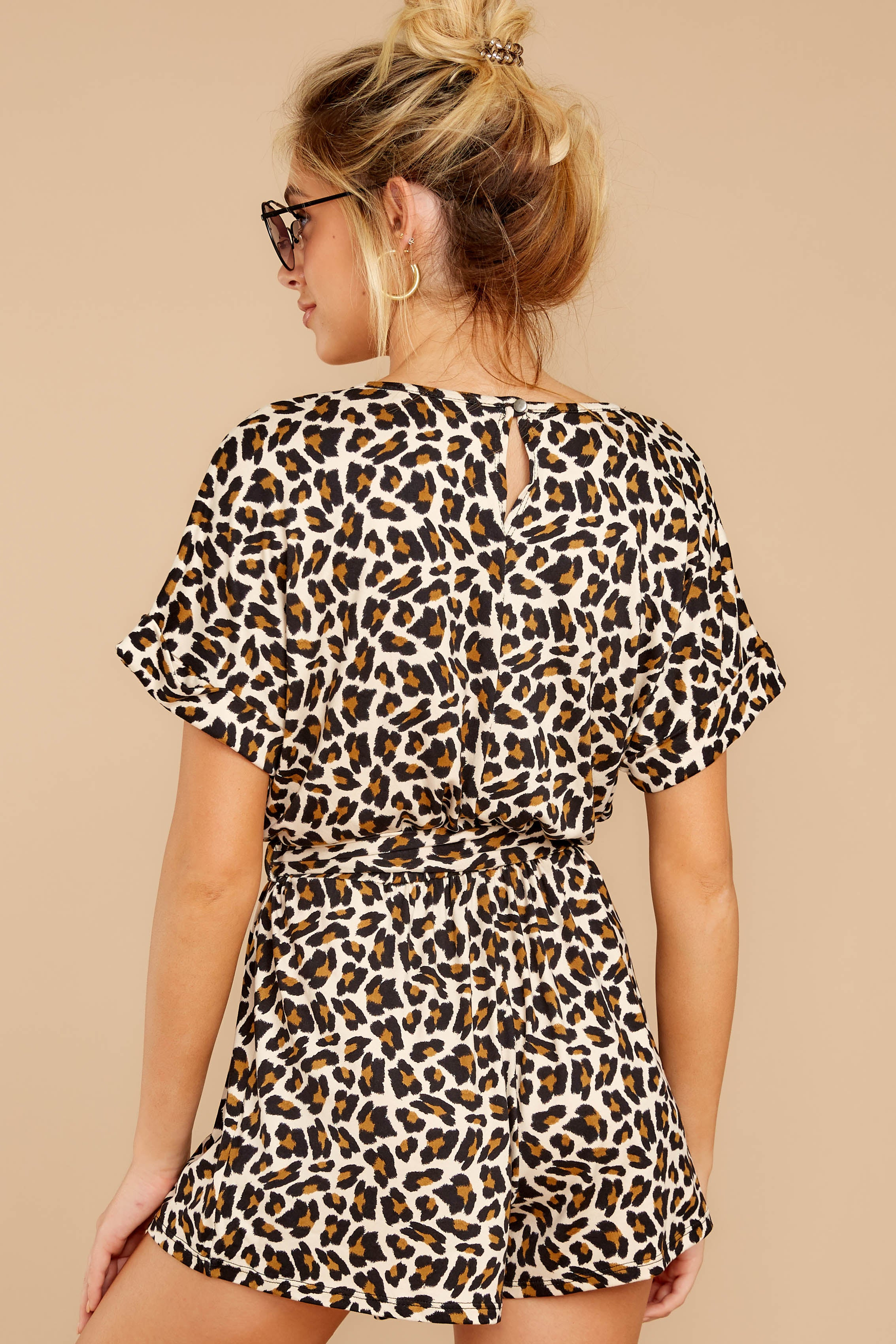 6 Chasing Chic Light Leopard Print Romper at reddressboutique.com