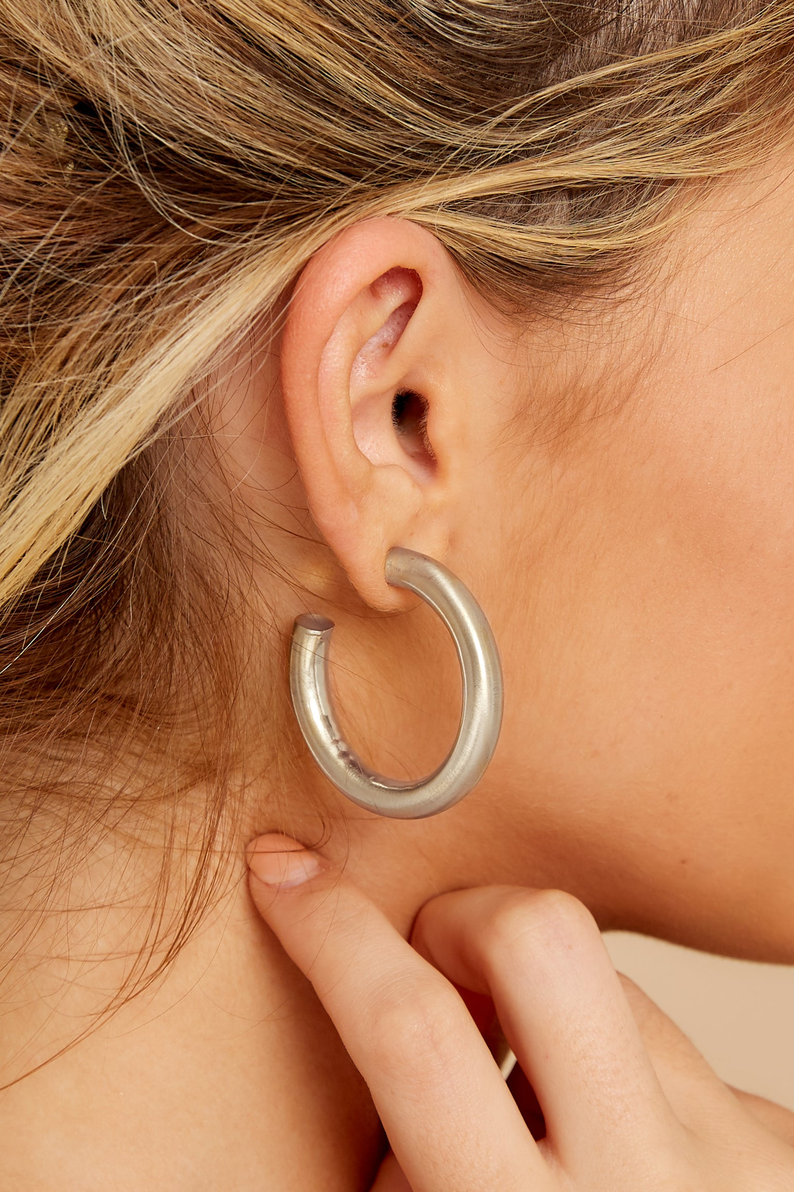 1 Over Your Head Silver Hoop Earrings at reddress.com