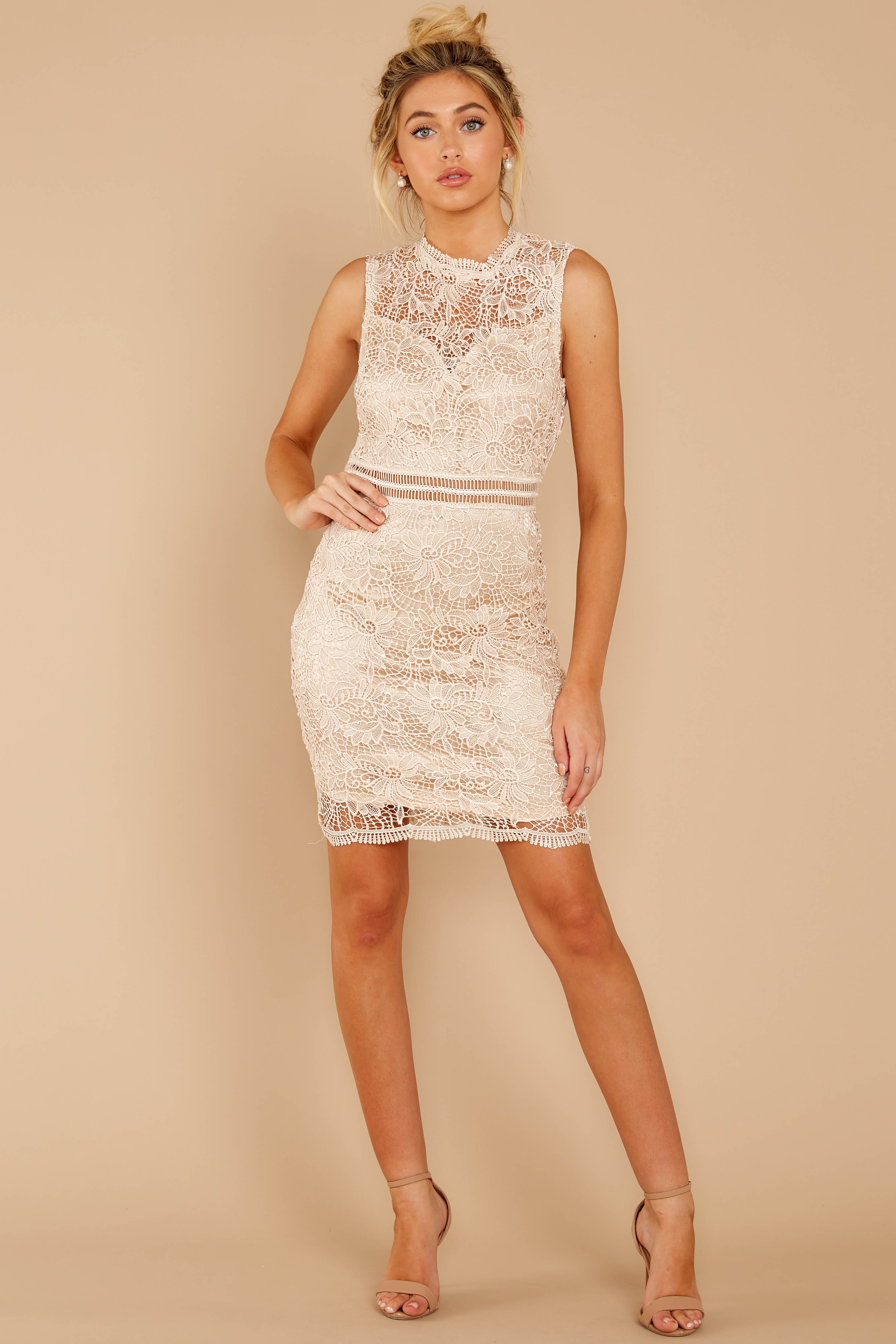 2 Whispered Thoughts Beige Lace Dress at reddressboutique.com