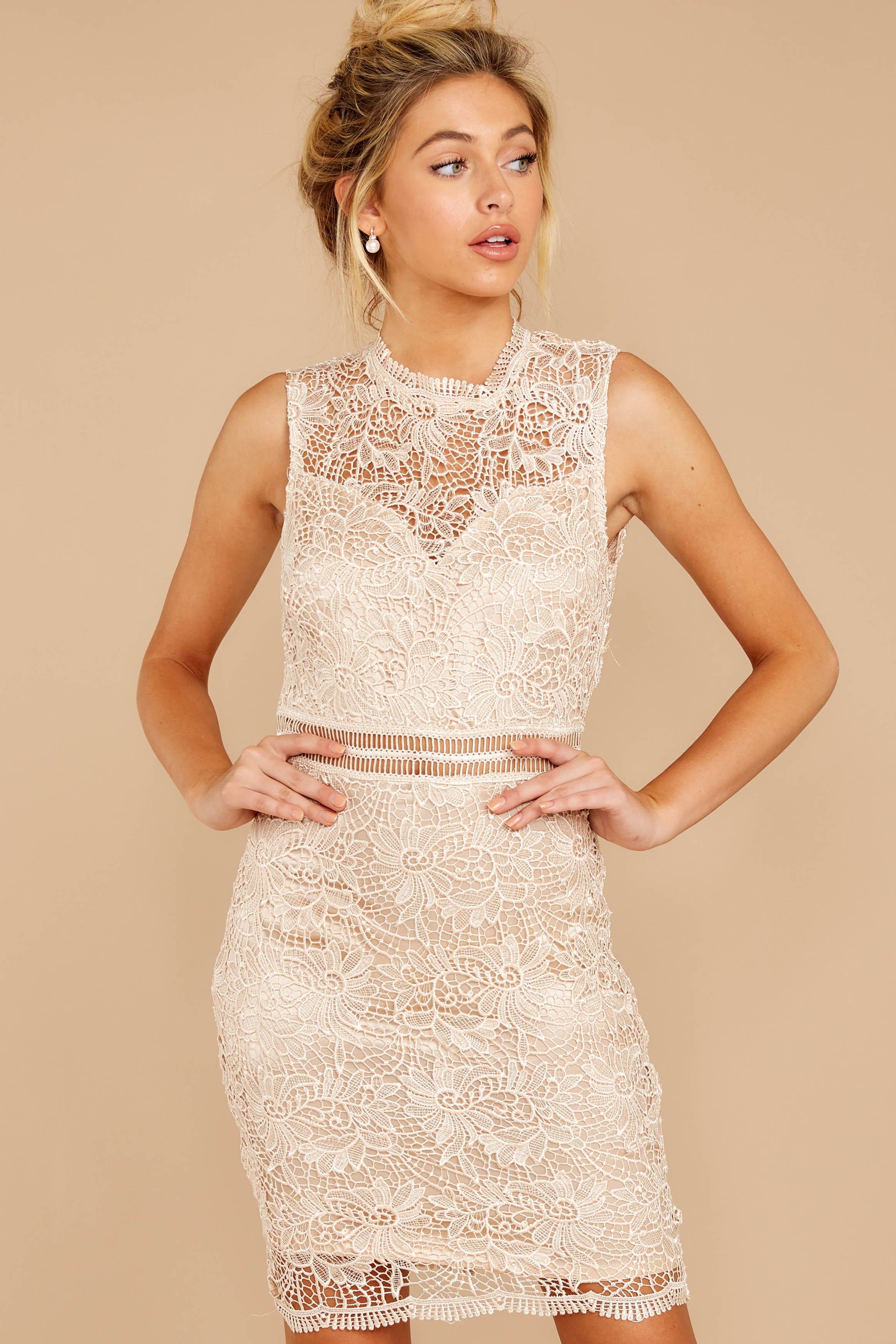 4 Whispered Thoughts Beige Lace Dress at reddressboutique.com