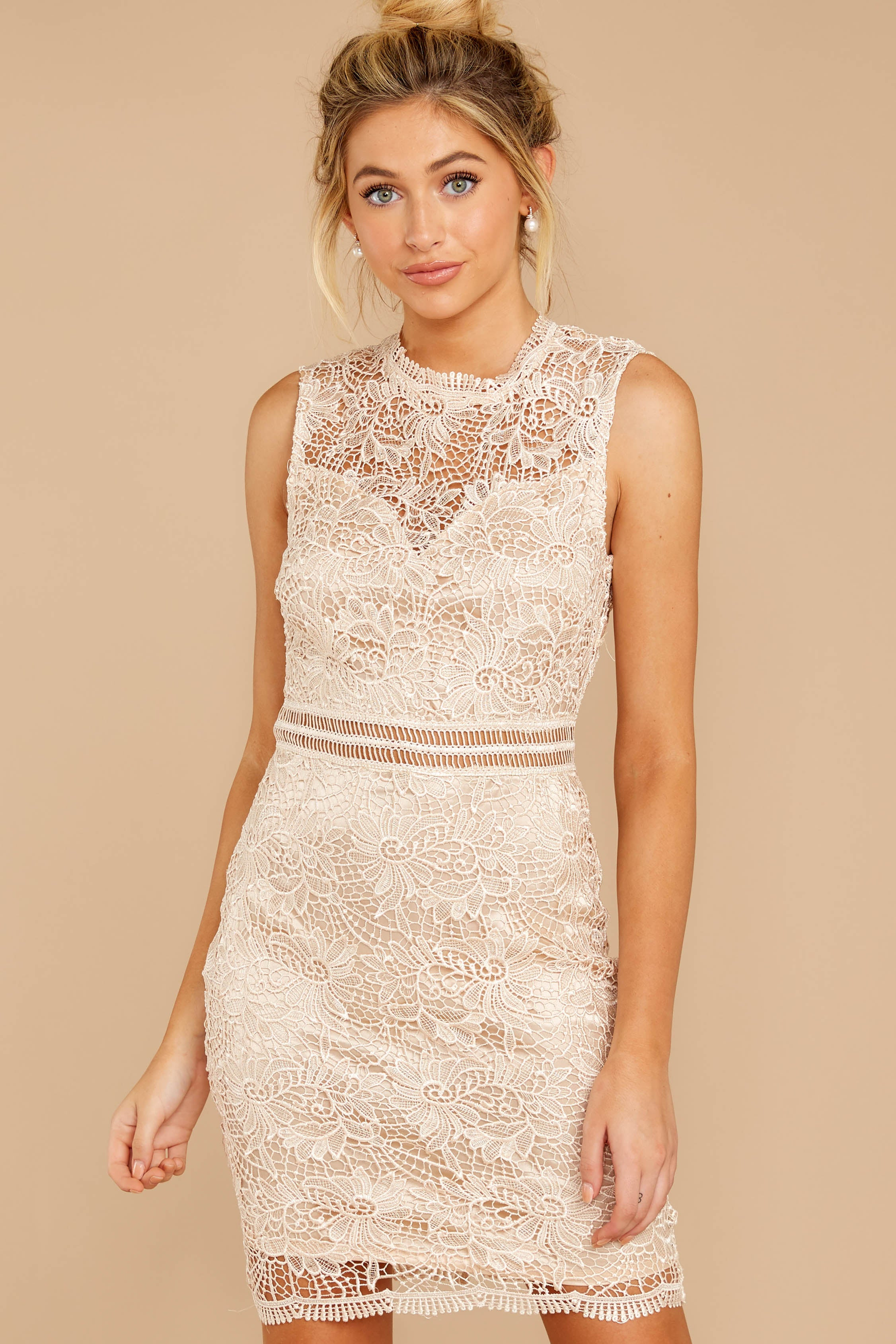 5 Whispered Thoughts Beige Lace Dress at reddressboutique.com