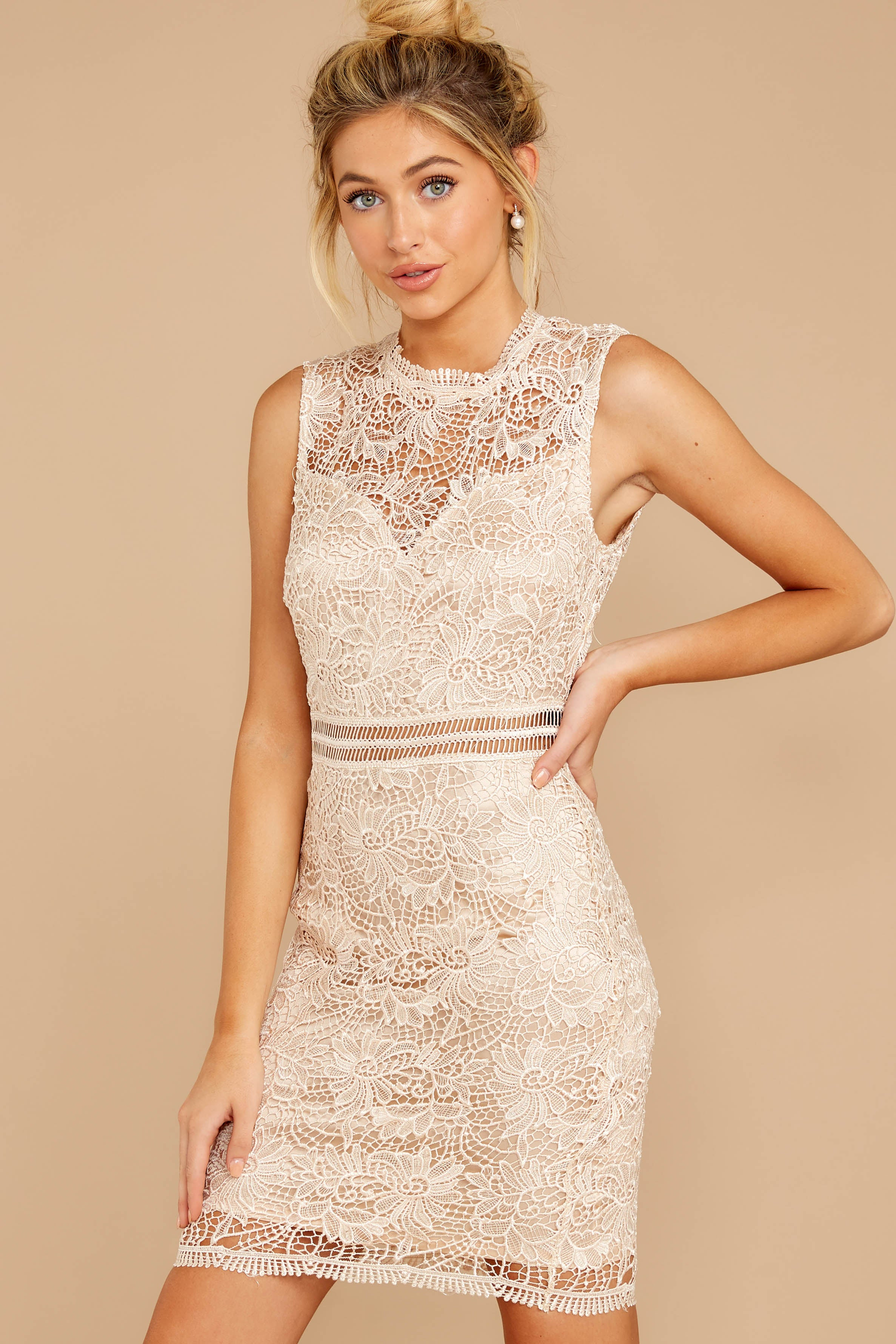 1 Whispered Thoughts Beige Lace Dress at reddressboutique.com